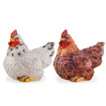 Image of Mint & Saffron the Realistic Resin White & Brown Hen Ornaments