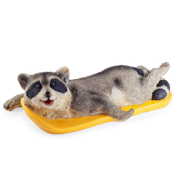 Image of Ray the Surfing Raccoon Garden Pond Feature Floating Ornament