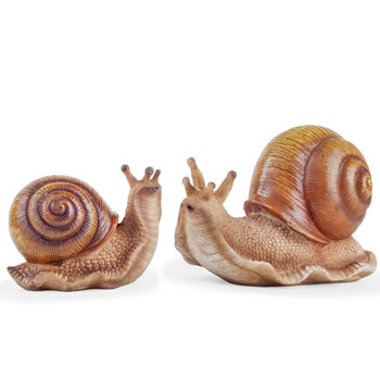 Image of The Hosta Loving Pair of Realistic Snail Garden Ornaments