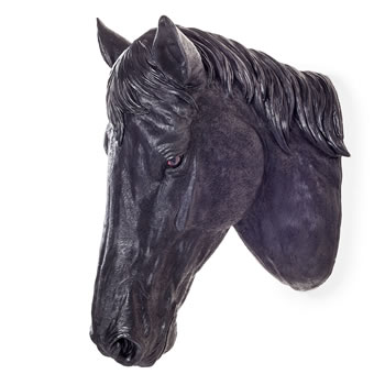 Image of Large Wall Mountable Realistic Jet Black Stallion Horse Head Garden Feature Ornament