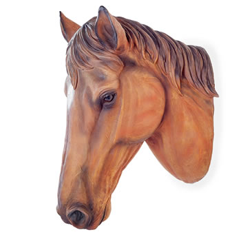 Image of Large Wall Mountable Realistic Brown Stallion Horse Head Garden Feature Ornament