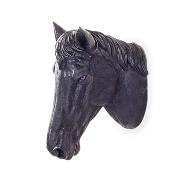 Image of Wall Mountable Realistic Jet Black Horse Head Garden Feature Ornament