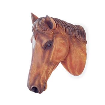 Image of Wall Mountable Realistic Brown Horse Head Garden Feature Ornament