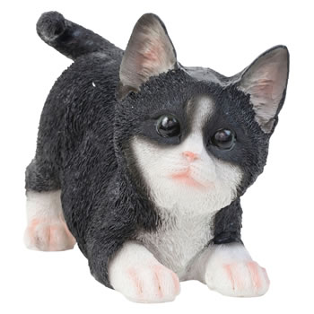 Extra image of 3 Realistic Life-Size Playful Kitten Ornaments Black, Grey and Ginger
