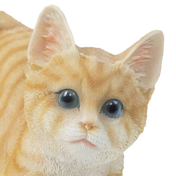Extra image of Realistic Life-size Playful Ginger Kitten Cat Garden Ornament