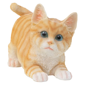 Image of Realistic Life-size Playful Ginger Kitten Cat Garden Ornament