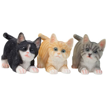 Image of Set of 3 Realistic Life-size Playful Kitten Cat Garden Ornaments - Black, Grey & Ginger