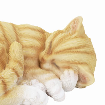 Extra image of Realistic Life-size Sleeping Ginger Cat Garden Ornament