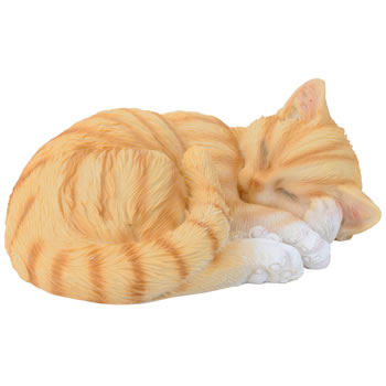 Image of Realistic Life-size Sleeping Ginger Cat Garden Ornament