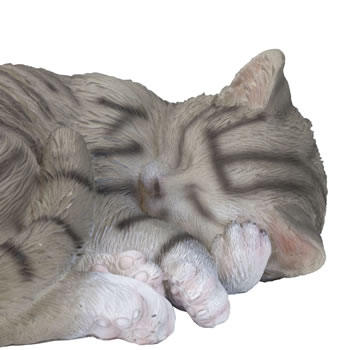 Extra image of Realistic Life-size Sleeping Grey Tabby Cat Garden Ornament