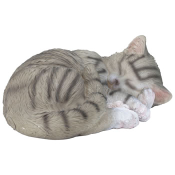 Image of Realistic Life-size Sleeping Grey Tabby Cat Garden Ornament
