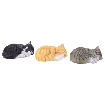 Image of Set of 3 Realistic Life-size Sleeping Cat Garden Ornaments - Black, Grey & Ginger