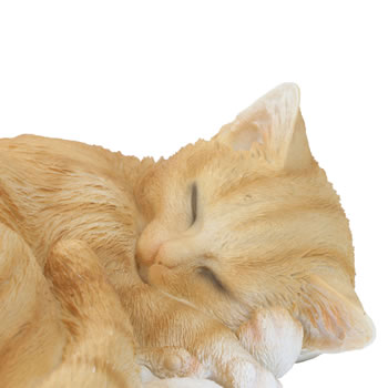 Extra image of Realistic Sleeping Ginger Cat Kitten Garden Ornament