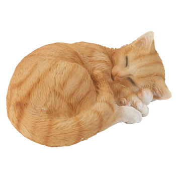 Image of Realistic Sleeping Ginger Cat Kitten Garden Ornament