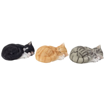 Image of 3 Realistic Sleeping Kitten Cat Ornaments - Black, Grey & Ginger