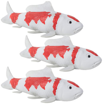 Image of Set of 3 Large Red & White Koi Carp Fish Garden Ornament