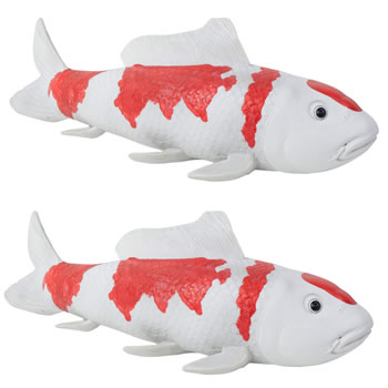 Image of Set of 2 Large Red & White Koi Carp Fish Garden Ornament