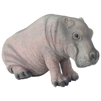 Image of Large Realistic Life-like Baby Hippo Garden Ornament