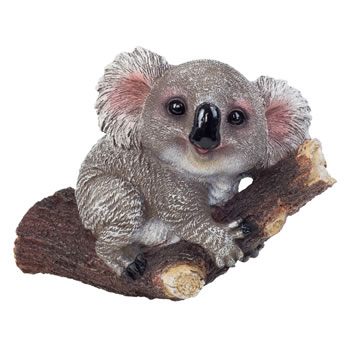 Image of Grey Koala Bear on Branch Polyresin Garden Ornament for Tree or Wall Mounting