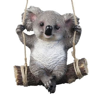 Extra image of Grey Koala Bear on Swing Polyresin Hanging Garden Ornament