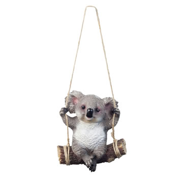 Image of Grey Koala Bear on Swing Polyresin Hanging Garden Ornament