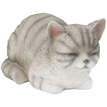 Image of Realistic Life-size Resting Grey Tabby Cat Kitten Garden Ornament