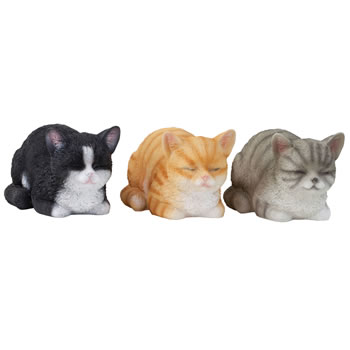 Image of Set of 3 Realistic Life-size Resting Kitten Cat Garden Ornaments - Black, Grey & Ginger