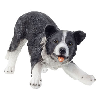 Image of Large Realistic Black & White Herding Border Collie Sheepdog Statue Ornament