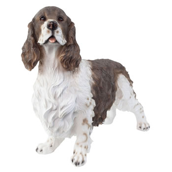 Image of Large Realistic Standing Brown & White Springer Spaniel Statue Garden Ornament