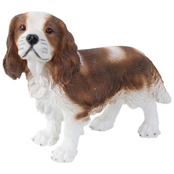 Image of Realistic 30cm Standing King Charles Spaniel Dog Statue Garden Ornament