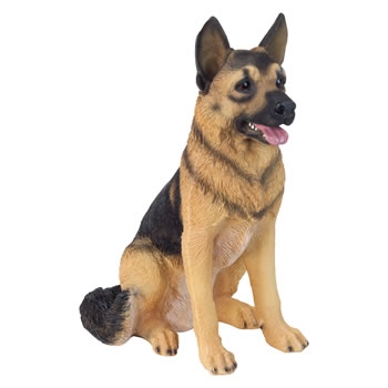 Image of Large Realistic 54cm Sitting German Shepherd Dog Polyresin Ornament
