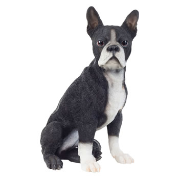 Image of Realistic 41cm Sitting Boston Terrier Dog Statue Garden Ornament
