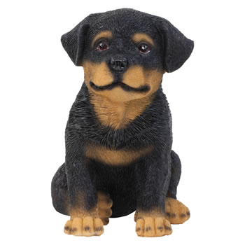 Image of Realistic 15cm Sitting Rottweiler Puppy Dog Statue Ornament