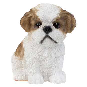 Image of Realistic 16cm Sitting Brown Shih Tzu Puppy Dog Statue Ornament