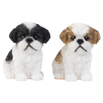 Image of Set of 2 Realistic 16cm Shih Tzu Puppy Dog Statue Ornaments