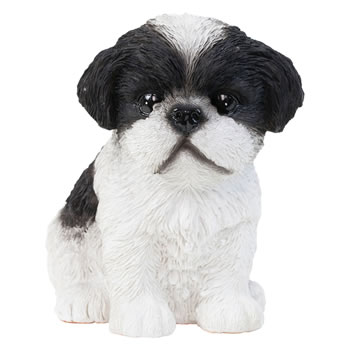 Image of Realistic 16cm Sitting Black Shih Tzu Puppy Dog Statue Ornament