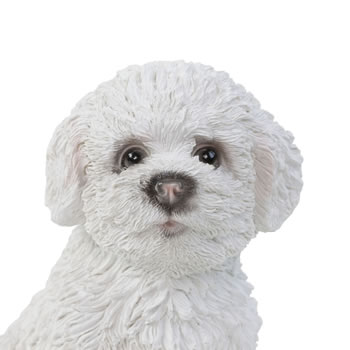 Extra image of Realistic 15cm Sitting Bichon Frise Puppy Dog Statue Ornament