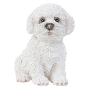 Image of Realistic 15cm Sitting Bichon Frise Puppy Dog Statue Ornament