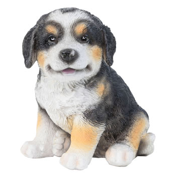 Image of Realistic 15cm Sitting Bernese Mountain Dog Puppy Statue Ornament