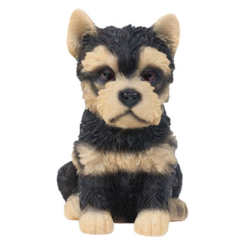 Image of Realistic 15cm Sitting Yorkshire Terrier Puppy Dog Statue Ornament