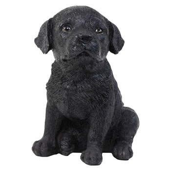Image of Realistic 16cm Sitting Black Labrador Puppy Dog Statue Ornament