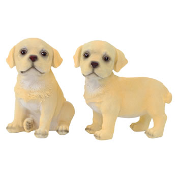 Image of Set of 2 Realistic 16cm Yellow Labrador Puppy Dog Statue Ornaments