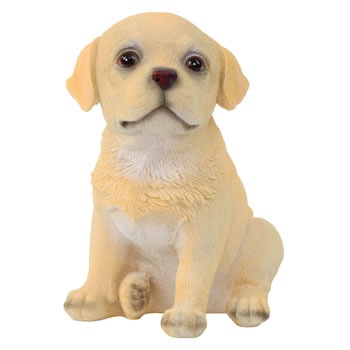 Image of Realistic 16cm Sitting Yellow Labrador Puppy Dog Statue Ornament