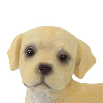 Extra image of Realistic 16cm Standing Yellow Labrador Puppy Dog Statue Ornament