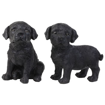 Image of Set of 2 Realistic 16cm Black Labrador Puppy Dog Statue Ornaments