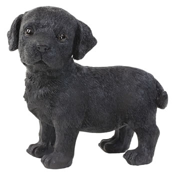 Image of Realistic 16cm Standing Black Labrador Puppy Dog Statue Ornament