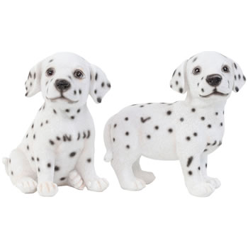 Image of Set of 2 Realistic 16cm Dalmatian Puppy Dog Statue Ornaments