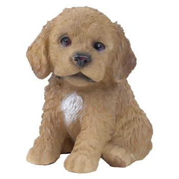Image of Realistic 15cm Sitting Brown Cockapoo Puppy Dog Statue Ornament