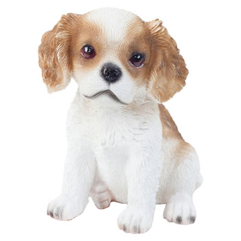 Image of Realistic 15cm Sitting Cavalier King Charles Spaniel Puppy Dog Statue Ornament