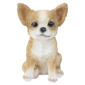 Image of Realistic 15cm Sitting Chihuahua Puppy Dog Statue Ornament